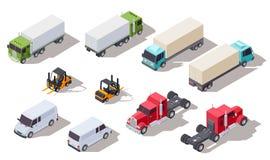 Isometric ciężarówka Transport przewozi samochodem z zbiornikiem, samochód dostawczy, ciężarówka i ładowacz, Wektorowi 3d pojazdy ilustracja wektor