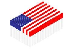 Isometric cigarette in row, United States national flag shape concept design illustration royalty free illustration