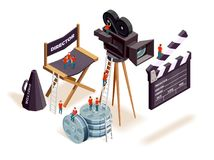Isometric Cinema Elements Concept. Isometric cinema composition with the little people climbing on motion picture filming equipment and directors seat vector Royalty Free Stock Images