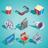 Isometric Cinema Elements Set. With soda popcorn glasses film reel clapper loudspeaker screen director chair camera isolated vector illustration Stock Photo
