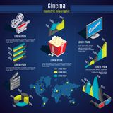 Isometric Cinema Infographic Template. With camera popcorn monitor clapper glasses diagrams charts world map vector illustration Stock Photo