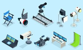 Isometric Cinematography Elements Set. With director chair different video cameras clapper projectors audio record equipment decorations isolated vector Royalty Free Stock Photography