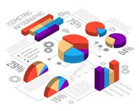 Isometric Circlular Graph Infographics. Isometric infographics design template with cumbersome circular graphs editable text percentage values and grey gear Stock Photos