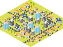 Isometric city. With downtown and  suburbs, buildings and roads Stock Photos