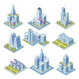 Isometric city architecture, cityscape building, landscape garden and office skyscraper. Buildings for 3d street map. Isometric city architecture, cityscape vector illustration