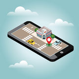 Isometric city. Asian restraunt. Mobile searching. Geo tracking. Map Royalty Free Stock Photo