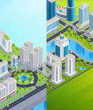 Isometric City Banners Royalty Free Stock Images