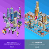 Isometric City Banners vector illustration