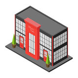 Isometric city building of business center or mall. Royalty Free Stock Images