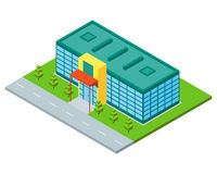 Isometric city building of supermarket, store or mall. Royalty Free Stock Photography