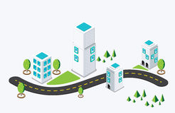Isometric city building. vector illustration Royalty Free Stock Image