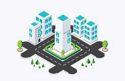 Isometric city building. vector illustration Stock Photography