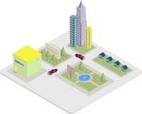 Isometric City Buildings Stock Photo
