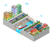 Isometric City with Buildings Bridge and River Royalty Free Stock Photo