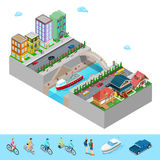 Isometric City with Buildings Bridge and River Stock Image