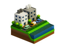 Isometric city buildings, landscape, Road and river Royalty Free Stock Photo