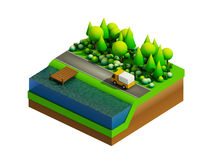 Isometric city buildings, landscape, Road and river Royalty Free Stock Photos