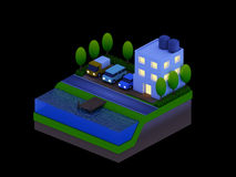 Isometric city buildings, landscape, Road and river, night scen Royalty Free Stock Photos