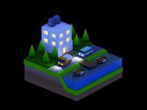 Isometric city buildings, landscape, Road and river, night scen Stock Photo