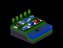 Isometric city buildings, landscape, Road and river, night scen Royalty Free Stock Photo