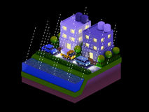 Isometric city buildings, landscape, Road and river, night scen Royalty Free Stock Images