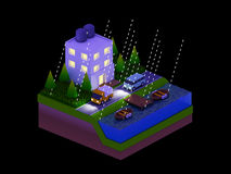 Isometric city buildings, landscape, Road and river, night scen Stock Image