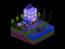 Isometric city buildings, landscape, Road and river, night scen Stock Photos