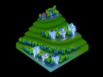 Isometric city buildings, landscape road and river night scene Stock Photos