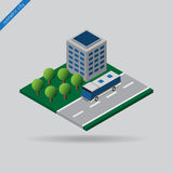 Isometric city - bus on road, building and trees Royalty Free Stock Image
