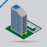Isometric city - bus on road, building and trees royalty free illustration