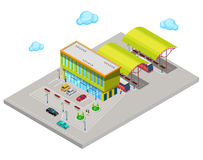 Isometric City Bus Station with Buses, Parking Area and People Royalty Free Stock Photos