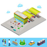 Isometric City Bus Station with Buses, Parking Area and People Stock Photo