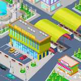 Isometric City Bus Station with Buses Stock Photos