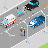 Isometric City Car Accident with Ambulance and Police Vehicle Royalty Free Stock Photography