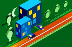 Isometric city car tree night moon green vector Stock Photography