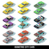 Isometric city cars vector icons in front and rear views Royalty Free Stock Image