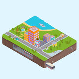 Isometric City Center map Stock Photography