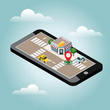 Isometric city. Cheese shop. Pizzeria. Food delivering. Mobile searching. Geo tracking. Map Stock Images