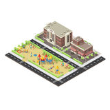 Isometric City Children Playground Template. With people and carousels near school and cafe buildings vector illustration Stock Photo