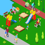 Isometric City. City Park with Children Playground and Bicycle Path. Vector Stock Photo