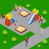 Isometric City. City Park with Children Playground. Vector Royalty Free Stock Photography
