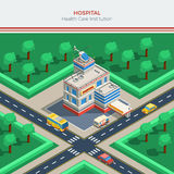 Isometric City Constructor With Hospital Building Royalty Free Stock Images