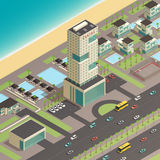 Isometric City Constructor With Luxury Hotel Royalty Free Stock Photo