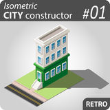 Isometric city constructor - 01. Set of isolated isometric private buildings. Illustration of urban and rural houses and dwellings. For your infographic, map or Royalty Free Stock Images