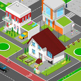 Isometric City Cottage Dormitory Area Royalty Free Stock Photos