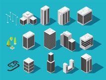 Isometric city 3d building and houses with urban elements vector set. City house building and urban architecture construction illustration Stock Photography