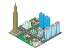 Isometric city stock illustration