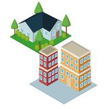 Isometric city 3d. Icon  illustration graphic design Royalty Free Stock Photo