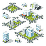 Isometric city 3d vector illustration with office buildings, skyscrapers. Trees and bushes on the street. Model of urban areas with buildings. City 3d Stock Photos