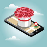 Isometric city. Flower delivering. Flowers. Mobile searching. Geo tracking. Map.Isometric city. Food delivering. Royalty Free Stock Photos